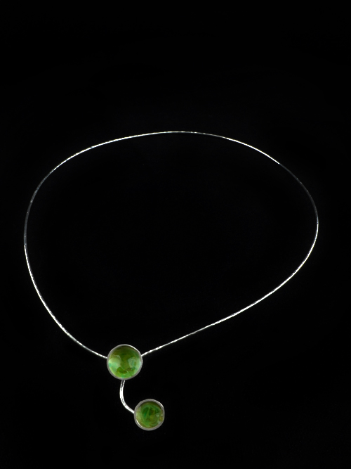 Silver 925 necklace with small hemisphere (diameter 1,2cm and 1 cm) with cold enamel. It is suitable for any age, any situation. It is simple, cute and discreet.