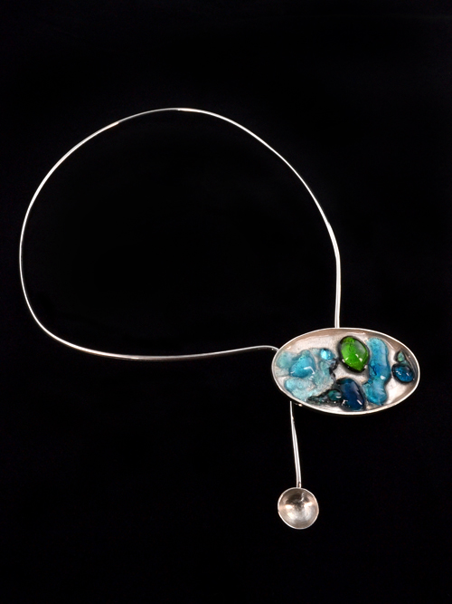 Silver 925 necklace (20cm max height and 12cm max width) with enamel and glass.