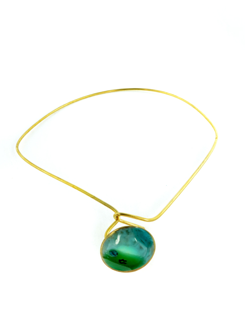Bronze necklace with glass and cold enamel,  impressive in appearance.