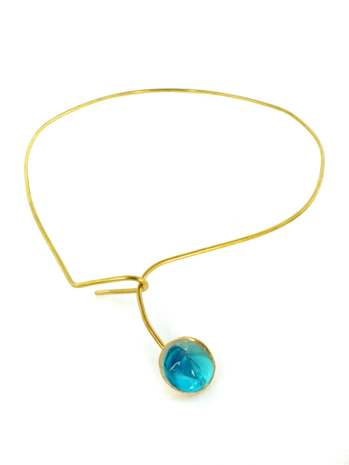 Bronze  necklace, with cold enamel,impressive in appearance.