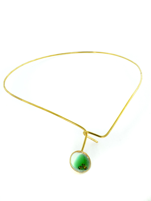 Bronze  necklace, with cold enamel and glass (maramila technique),impressive in appearance.