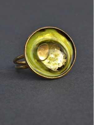 bronze ring with enamel and glass 3