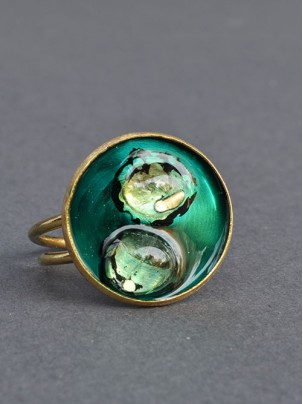 bronze ring with enamel and glass 4