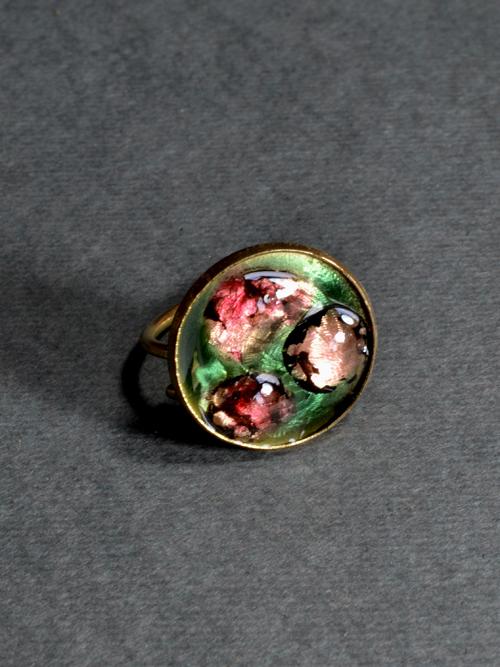 δαχτυλίδι από μπρούντζο με ρητίνη και ψημένο γυαλί