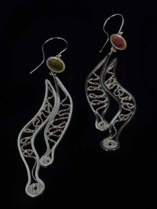Silver 925  earrings (2cm max length and 8max height) with  enamel. The earrings consist of silver pieces  in the shape of caterpillar. The inner part of caterpillars is formed by filigree. Filigree a delicate kind of jewellery metalwork (used very much i